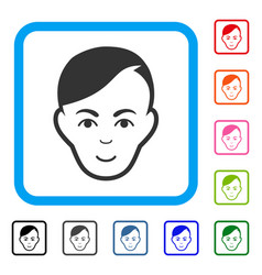 Human head framed gladness icon vector