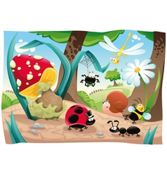 Insects family on the ground vector