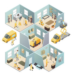 Isometric industrial cleaning colored composition vector