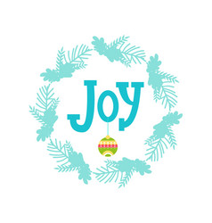joy colorful banner and wreath vector image