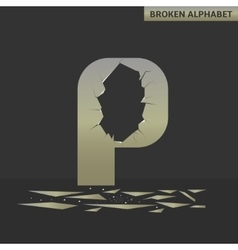 Letter P Broken mirror vector