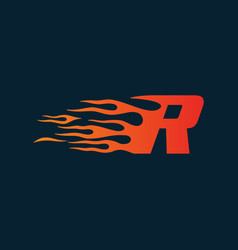 Letter r flame logo speed logo design concept vector