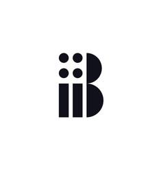 Logo letter b black and white vector