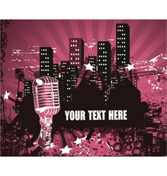 microphone with urban background vector image