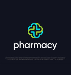 modern professional logo cross in pharmacy vector image