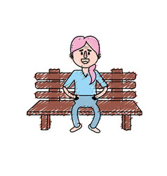 Old woman in the chair with hairstyle vector