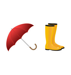 Pair of rain boots wellingtons and open umbrella vector