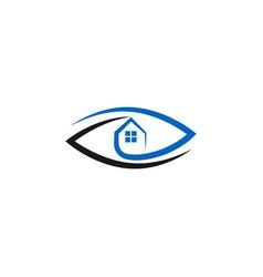 Real estate logo concept eye and house vector