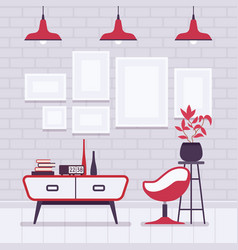 retro interior with red lamps frames for vector image