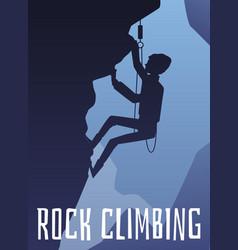 rock climbing banner with climber at mountain vector image