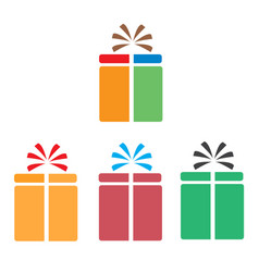 Set gift box icon on white background flat style vector