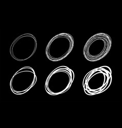 set hand drawn sketch scribble oval circles vector image