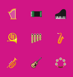 set of 9 editable mp3 flat icons includes symbols vector image