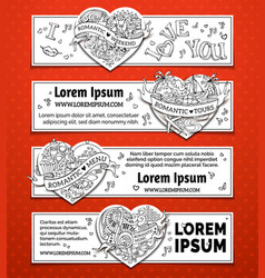 Set of horizontal romantic doodles banners vector