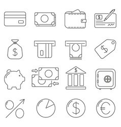 set of icons in line style everything you need vector image