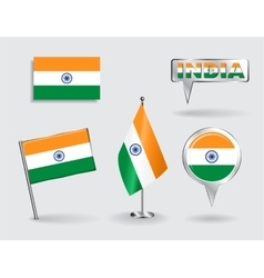 Set of Indian pin icon and map pointer flags vector image