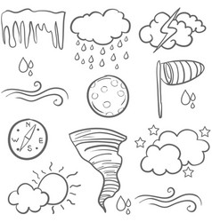 Set of weather doodles vector