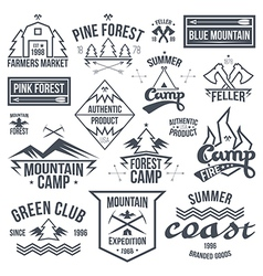 Set retro vintage camping badges vector