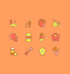set simple line icons traumatology vector image