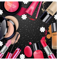 sets of cosmetics on black background vector image