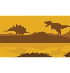 Silhouette of stegosaurus and parasaurolophus vector