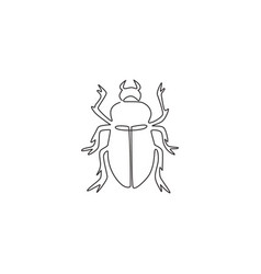 single continuous line drawing adorable beetle vector image