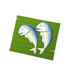 steamed mackerel on leaf banana isolated vector image