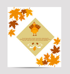 thanksgiving autumn background with turkey vector image