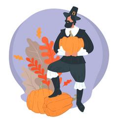 thanksgiving holiday pilgrim wearing hat holding vector image