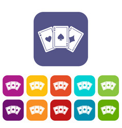 three aces playing cards icons set vector image