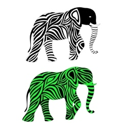 Two abstract elephants monochrome and colored vector image