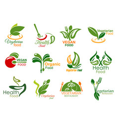 Vegetarian restaurant and organic food icons vector