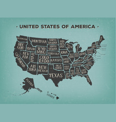 Vintage american map poster with states names vector