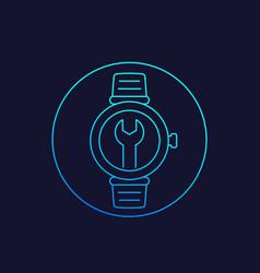 Watch repair linear icon vector