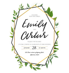Wedding invitation save the date floral card vector