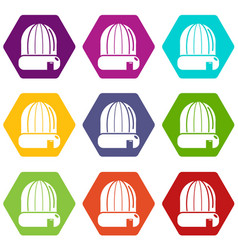 winter hat cap icons set 9 vector image