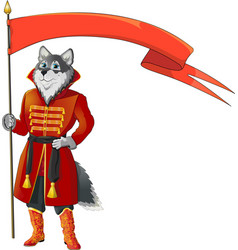 Wolf with flag vector