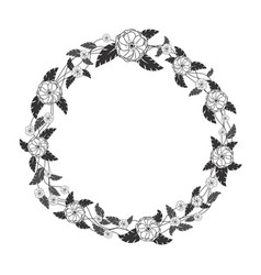 wreath with black and white flowers and leaves vector image