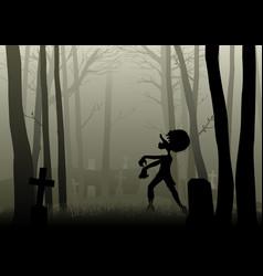 Zombie walking on graveyard in dark woods vector