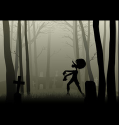 zombie walking on the graveyard in dark woods vector image