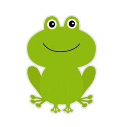 Cute green cartoon frog vector image