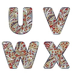 Letters U V W X Set colorful alphabet of vector image