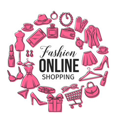 set of online fashion shopping icons vector image