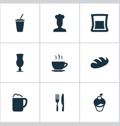 set of simple restaurant icons vector image vector image