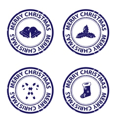 Blue christmas rubber stamps vector image vector image