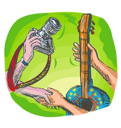 dslr camera guitar music exchange vector image