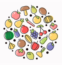 fruits and vegetables poster of flat outline vector image vector image