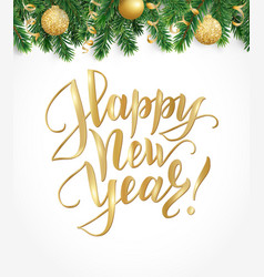 happy new year card with fir tree garland vector image