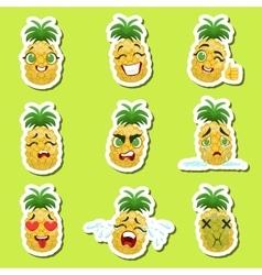 Pineapple Cute Emoji Stickers Set On Green vector image