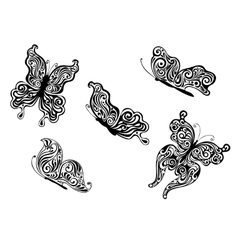 Set of ornate patterned calligraphic butterflies vector image